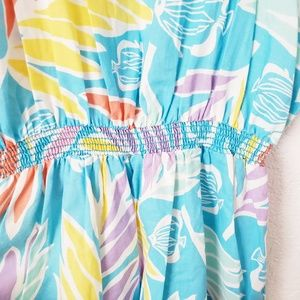 Vintage Pants - 80s Vintage Blue Fish Hawaiian Romper Jumpsuit 834